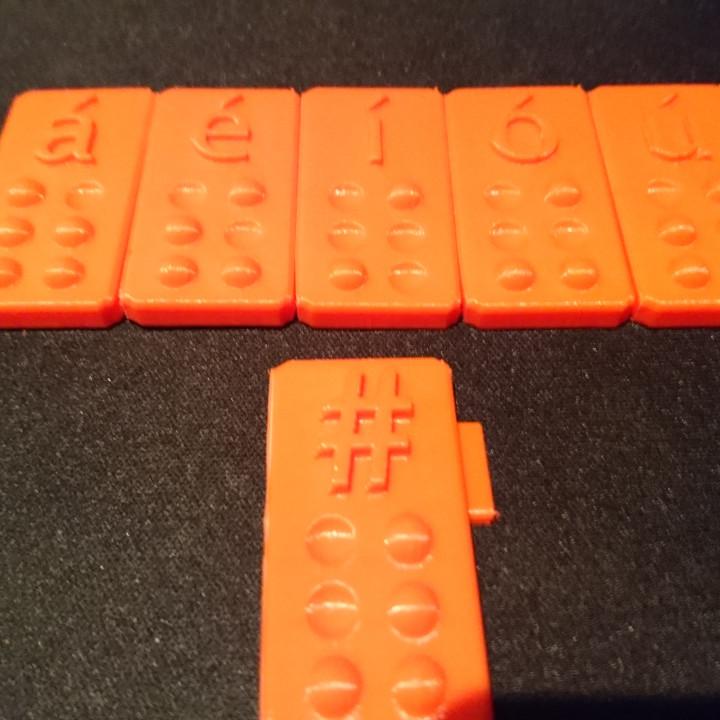 Vocales con tilde - Braille + #