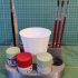 Brush, cup and Tamiya 10ml acrylic paint holder for scale modelers image