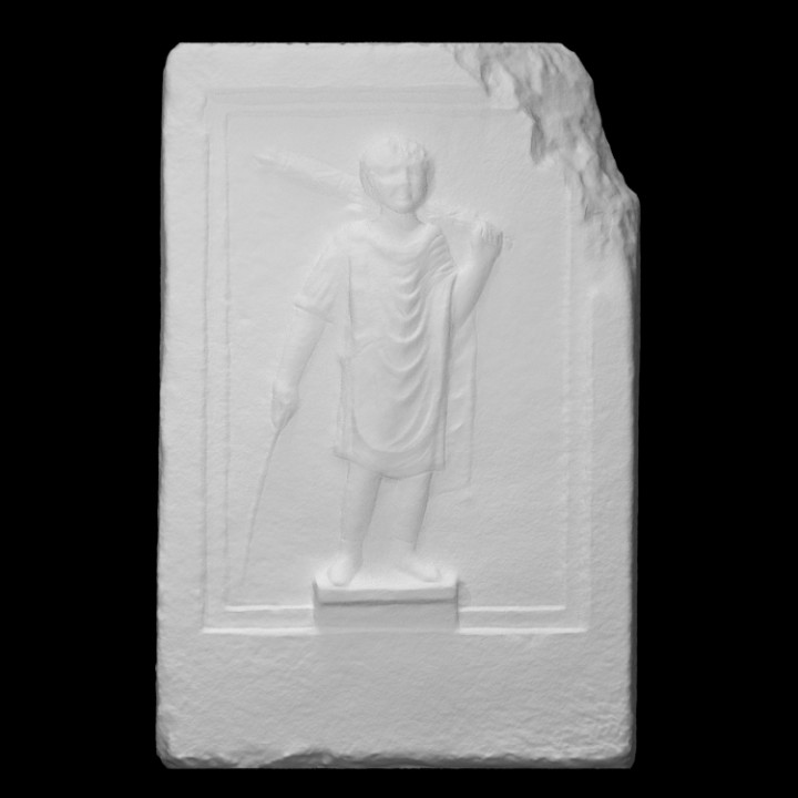 Marble block with figure of boy