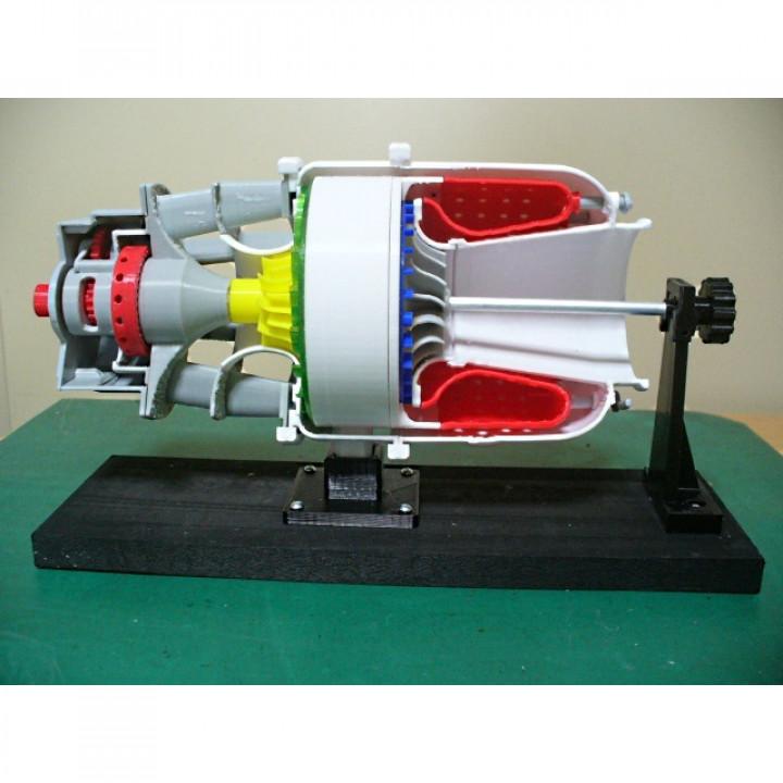 Turboshaft Engine, with Radial Compressor and Turbine - Cutaway