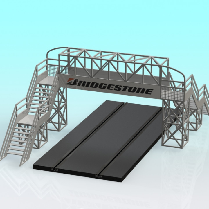 Slot car 2 lane footbridge 1:32 scale