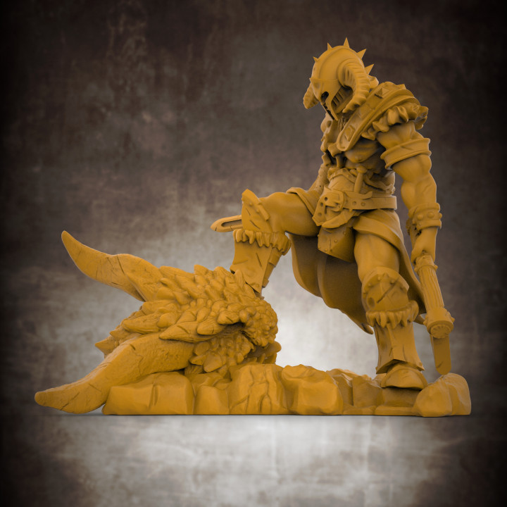 Barbarian Dragon Slayer (32mm scale miniature)