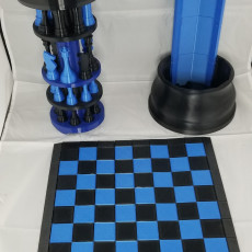 Picture of print of 3D Printed Chess Set with Roll-up Board & Carrying Case