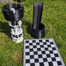 3D Printed Chess Set with Roll-up Board & Carrying Case