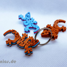 Flexi Articulated Mini Gecko Keychain Dual Color