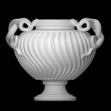Marble strigilated vase with snake handles