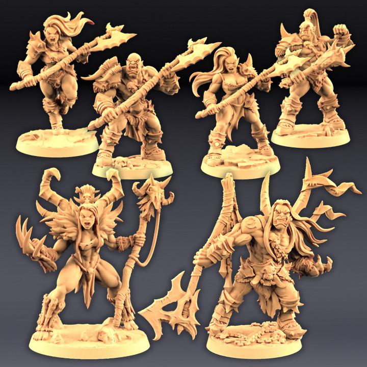 Orc Barbarians Set - 4 Modular + 2 Heroes image