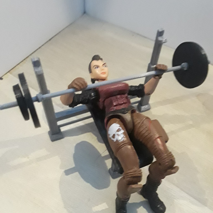 Weight Bench and Weights (1:18 scale)