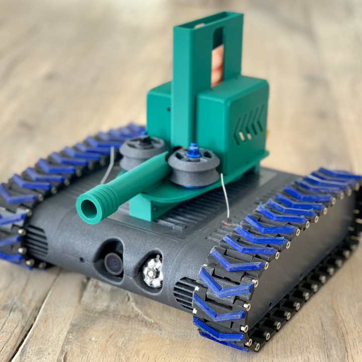 3D Printable Nerf Dart Launcher for the FPV-Rover by Markus