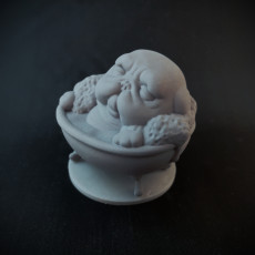 Picture of print of Playful Pug - Pug in the Bath miniature