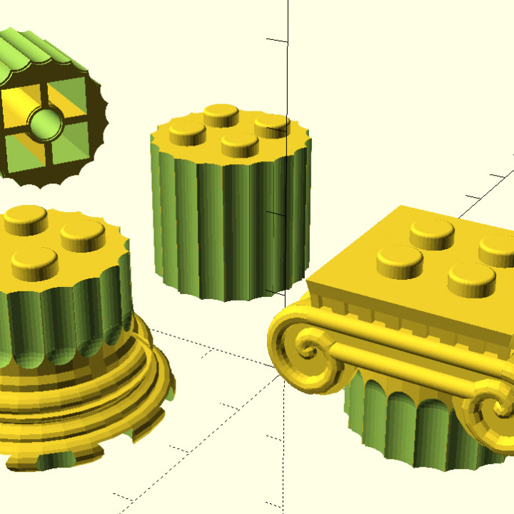 Ancient Greek ionic columns as Lego bricks