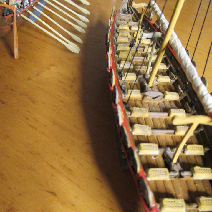 Small Viking Warship With 13 Oars On Each Side