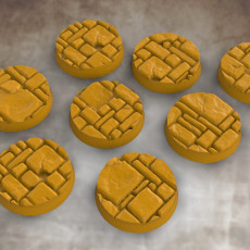 25mm diameter dungeon flagstone bases set 1 (8x bases)