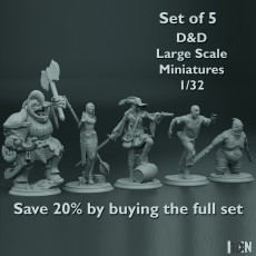 Set of 5 - D&D - Large Scale Miniatures - 1/32