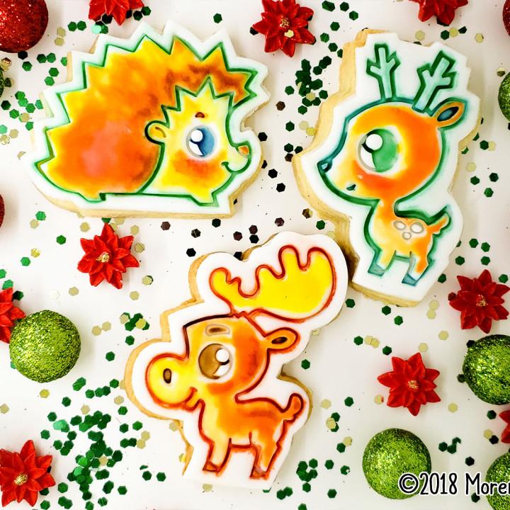 Deer, Moose & Hedgehog trio Winter Cookie Cutters with fondant press