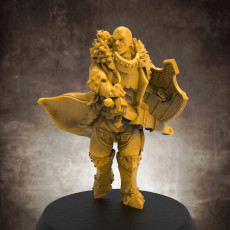 Human male fighter with attack hamster! 32mm scale miniature