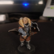 Picture of print of Human male fighter with attack hamster! 32mm scale miniature