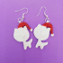 Christmas earrings_Xmas snow cat with Santa hat image