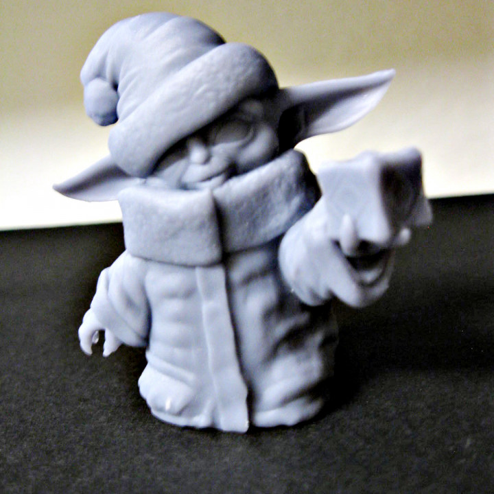 Santa Hat Baby Yoda with Holocron