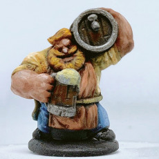 Picture of print of Dwarven Barkeep Miniature - pre-supported