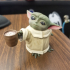 Baby Yoda with coffee cup print image