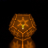 Pentagonal LED tea candle shade with snowflake image