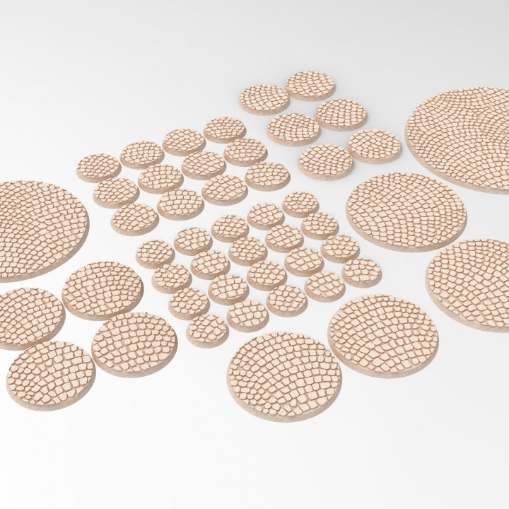 3D printable coblestone textured round  bases - trays for wargame 3D print model