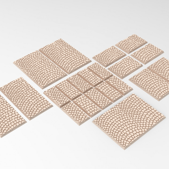 3D printable coblestone textured Square/Rectangular bases - trays for wargame