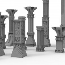 3D printable pillar and assorted bases for dwarf mine 3D print model