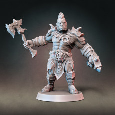 Half-orc Barbarian Type A w/ Modular Hands + 4 Weapons (Presupported)