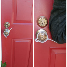 """Picture of print of Hands Free Round Door Handle Bolt on - under 2"""" Dia"""