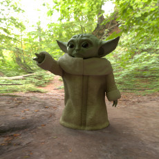 Low Poly Baby Yoda Like Figure