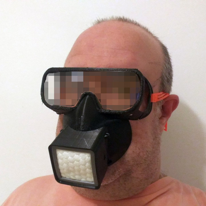 Reusable respirator face fitting mask with eyes protection. For HEPA or any other DIY filter