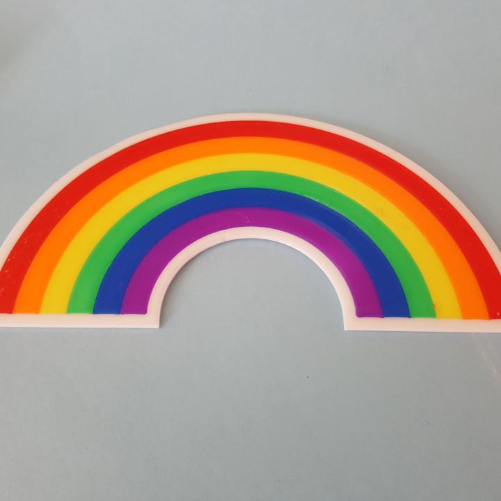 multi-coloured rainbow.