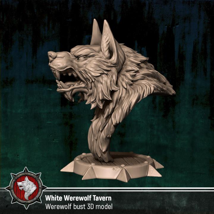 3D Printable Werewolf bust by White Werewolf Tavern