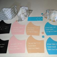 Fabric Face Mask Template Pattern Pocket 12mm Elastic Adjuster