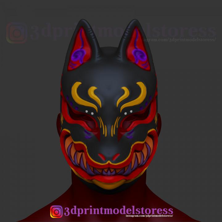 3d Printable Japanese Fox Mask Demon Kitsune Cosplay Helmet Stl File By 3dprintmodelstore