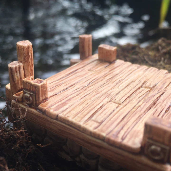 Wood and Stone Dock for 28 mm tabletop games