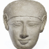 Egyptian Limestone Head from a Sarcophagus Lid image