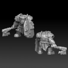 ork warrior armored with axe and sheld